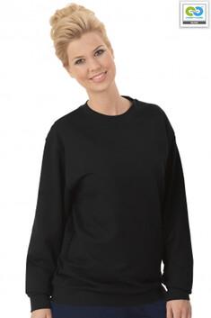 Trigema - Women's Long Sleeve Sweat Shirt - 100% Organic Cotton - Black 2021